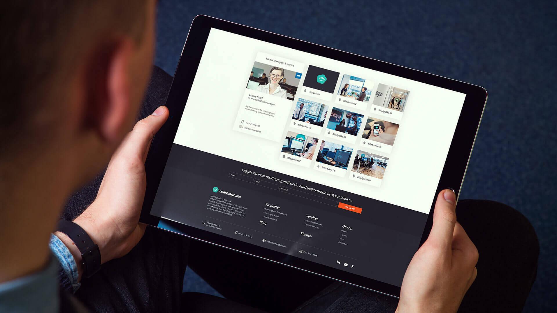 Learningbank præsentation på iPad